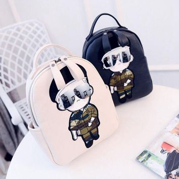 Cool  Women Backpack Character cartoon backpack Fashion creative shoulder bag Lichee pattern Quilted characters female backpack