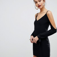 Club L Slip Mini Slinky Dresses with Split Sleeve Arm at asos.com