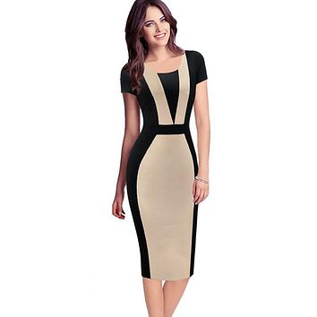 Womens Elegant Sexy O-neck Short Sleeve Pinup Patchwork Bandage Bodycon Office Dress Knee-length Pencil Dress Wear to Work