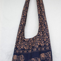 YAAMSTORE navy blue elephant hobo bag sling shoulder crossbody hippie boho purse