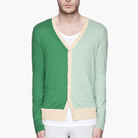 CARVEN Green And Yellow Colorblocked Cardigan for men | SSENSE