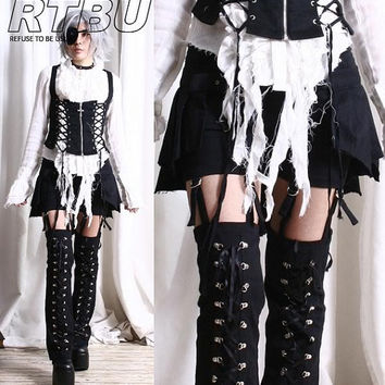 Gothic Lolita Punk EGL Suspender Pants Corset LegWarmer Pleated Kilt Skirt Wrap