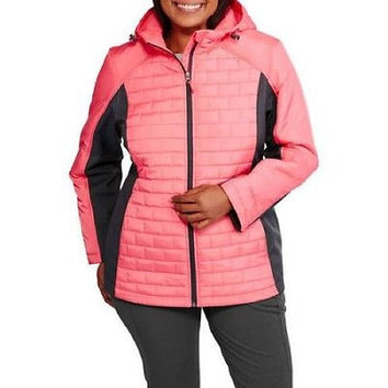 Free Tech Women's Sleek Quilted Jacket w/ Softshell Sleeves, 3X, Pink/Grey