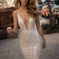 Berta Spaghetti Strap Beaded Mesh Mermaid Gown (In Stores Only)   Nordstrom