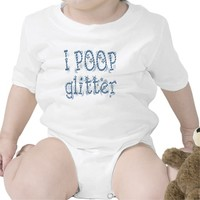 I Poop Glitter Blue Baby One Piece