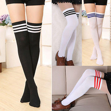 Womens Winter Soft Cable Knit Over Knee Long Boot Thigh-High Warm Striped Socks Long Stockings