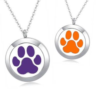 Paw Print Essential Oil Diffuser Necklace (perfect for Clemson Tigers fans)