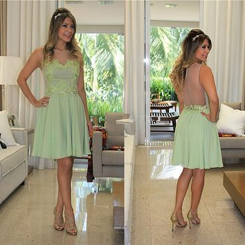 Sexy See Through Sage Appliques Chiffon A-Line Cocktail Dresses Knee Length Party Dresses 2016 Fashion Ruched Sleeveless Dress