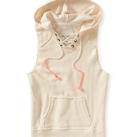 Aeropostale  Womens Sleeveless Flecked Hoodie - Beige, X-Small