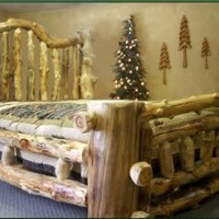 California King Size Majestic Aspen Log Bed