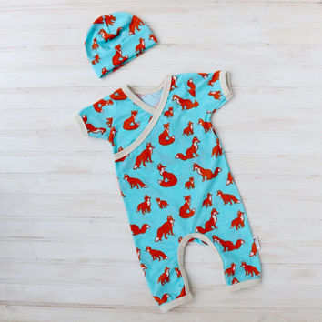 Fox Kimono Romper - Baby Going Home Outfit - Newborn Romper - Layette - Newborn - 0-3 months - 3-6 months -READY TO SHIP
