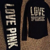 Victoria Secret ~PINK~Limited Edition Bling Rhinestones SweatPants~XS~ and top