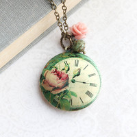 Floral Locket Necklace Green Pendant Clock Rose Charm Long Chain Photo Locket Flower Garden Fairytale Jewelry Vintage Style Gift For Women