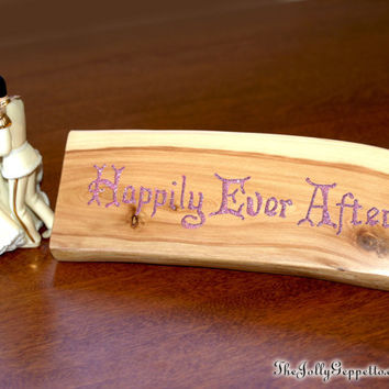 HAPPILY EVER AFTER, Wedding sign, Wedding Gift, Magic Words, Desk Shelf décor, Desk Sign, Fairy Tale, Carved Wood, by The Jolly Geppetto