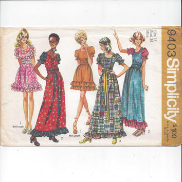 Simplicity 9403 Pattern for Misses' Peasant Style Ruffled Dress in 2 Lengths, Size 12, From 1974, Costume Pattern, Vintage Sewing Pattern