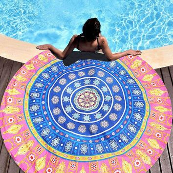 Summer Mandala Roundie Beach Boho Pareo Sarong Wrap Scarf Chiffon Shawl Floral Blanket Beach Towel Tapestry Swimsuit Cover up