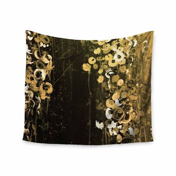 """Ebi Emporium """"THE DARK GARDEN 1"""" Gold Black Abstract Floral Painting Mixed Media Wall Tapestry"""