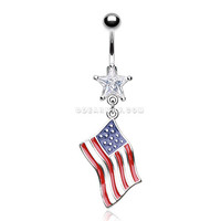 American Flag Belly Button Ring (Clear)
