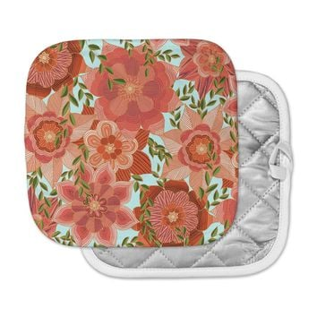 "Art Love Passion ""Flower Power"" Red Floral Pot Holder"