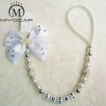 MIYOCAR Any name Bling silver rhinestone bow pink and sliver beads dummy clip holder pacifier clips holder/Teethers clip