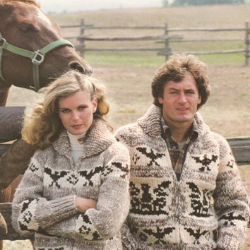 White Buffalo Pattern #21. Cowichan Salish style sweater, Wool cardigan, Adult, Native Canadian, hippy, West coast, stranded his and hers