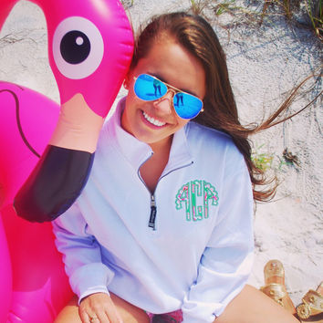 Monogram 1/4 zip sweatshirt with scalloped font in Lilly Pulitzer fabric