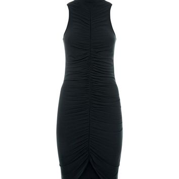 Black Ruched Front High Neck Bodycon Dress | New Look