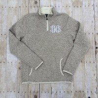 Charles River Monogram Heathered Fleece Pullover | Monogram Pullover | Monogram Quarter Zip | Monogram Half Zip | Fall Monogram