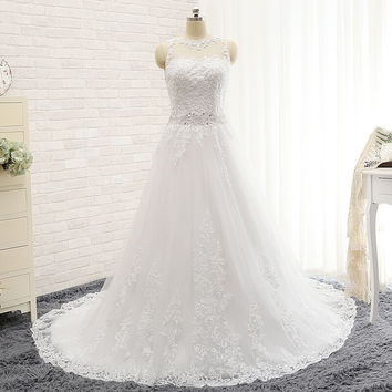 Wedding Dresses Vestido De Noiva Modest A-line Sweetheart Appliqued Lace Beaded Belt Backless Wedding Dress 2017 Robe De Mariage