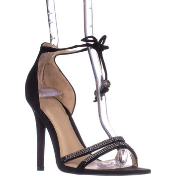 Guess Peri Tie Up Ankle Strap Heeled Sandals, Black, 6.5 US