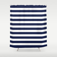 Stripe Horizontal Navy Blue Shower Curtain by Beautiful Homes