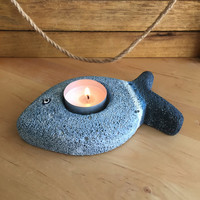 Fish Candle Holder/ Beach Gift/ Nautical Decor/ Pumice Stone Candle Holder/Beach House/ Blue Coastal Decor/ Ocean Decor/ Beach Candle Holder
