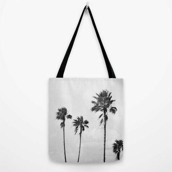 Black Palms - Tote Bag, Beach Fashion Surf Style Toting Accessory, Light Gray Palm Trees Print Market Shopping Carrier in Basic & Adjustable