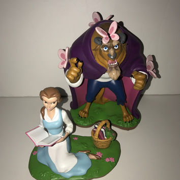 Disney Theme Parks Art Belle Beauty and The Beast 2 Figurine Set New with Box