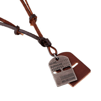 New Arrival Shiny Stylish Jewelry Gift Style Leather Men Alloy Vintage Beach Chain Necklace [6526582851]
