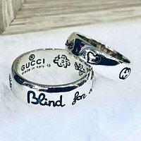 GUCCI Fashion New Sterling Silver Pattern Floral Bird Letter Women Men Ring Silver