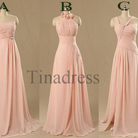 Custom Pink Long Bridesmaid Dresses 2014 Fashion Prom Dresses Wedding Party Dress Evening Dresses Formal Party Dress Homecoming Dresses