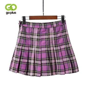 GOPLUS Women Fashion Summer High Waist Pleated Skirt Korean Harajuku Plaid Skirts Kawaii Female Preppy Chic Mini Skirts C5741