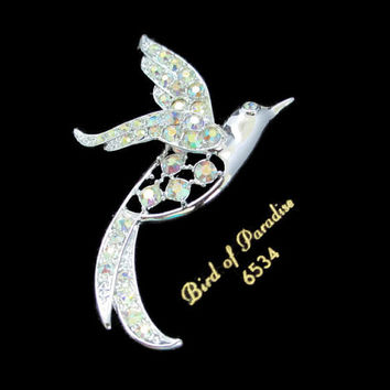 Vintage Sarah Coventry Bird of Paradise AB Rhinestone Silver Tone Brooch Pin - On Original Card, New From Old Stock