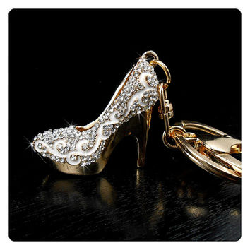 White Stiletto Heel Rhinestone Keychain Purse Charm, Silver Crystal Shoe Keychain Bling, Gift For Women, Handbag Charm, Bling Car Accessory