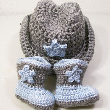 -Baby Boy Cowboy Gift Set-Hat and Boots-Blue and Gray--Baby Shower Gift--#201