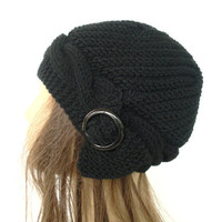 Hand Knit Hat Cloche Hat in Black with black buckle Womens cable knit Hat Spring Autumn Winter Accessories Fashion