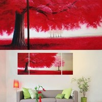 Red Tree Field Painting On Canvas Fine Art Size 67 x 28 Inch D31-BK 003
