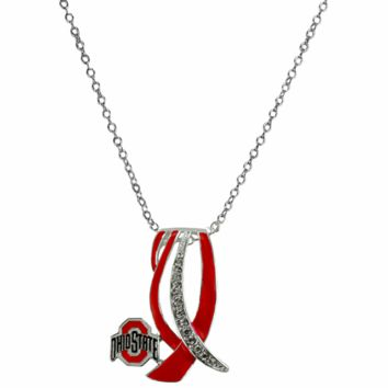 Ohio State Buckeyes - Ribbon Sparkle Necklace
