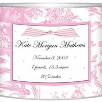 Birth Announcement Personalized Baby Bin   Pink