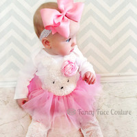 Baby Girl Newborn Take Home Outfit Pink Rosette Pink Tutu Lace Tights Little girls outfit First Birthday Boutique clothes baby girl newborn
