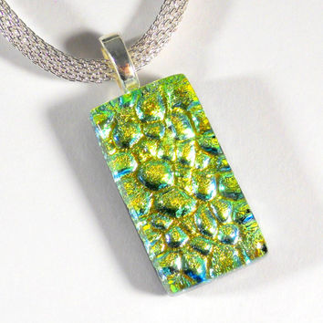 Yellow Gold Dichroic Glass Pendant, Pebble Texture, Silver Necklace