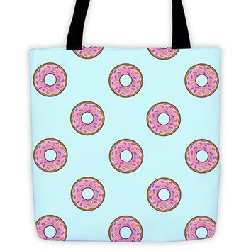 Cartoon Donut Sky Blue Pattern Tote Bag