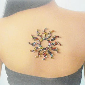 Indian designer bindi,High quality black colorful bindi,Sun bindi,wedding jewelry,Stick on body jewels,Bollywood fashion,Body art tattoo