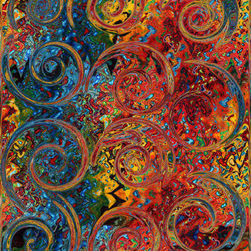 Textile Artist Made Decor Fabric Panel Abstract Pattern Curly Q's Scrolls